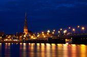 Riga Skyline At Night