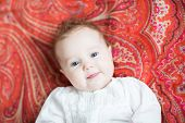 Little Baby On A Colorful Red Tulip Motif Shawl