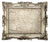 Old Silver Frame With Empty Grunge Canvas With Cracks