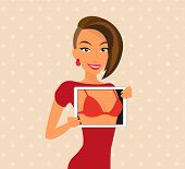 Woman wearing red dress is flirting using tablet pc