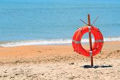 lifebuoy on a beach