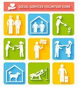 Volunteer icons set flat