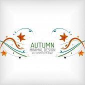 Autumn swirl lines and leaves on white, minimal design - floral waves on white