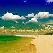 Undefined Senior Couple Walking On The Beach