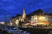 Old Urban Port At Night In Honfleur Town, France