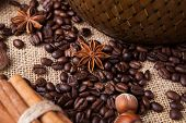 Roasted Coffee Beans And Star Anise
