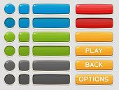 Interface buttons set for games or apps. Vector illustration. Isolated on white