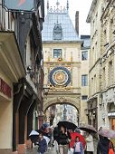 Tourists On Steet Rue Du Gros-horloge, Rouen