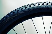 Bicycle wheel and tire close up abstract