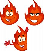Flame Cartoon Character 7. Collection Set