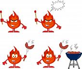 Flame Cartoon Character 2. Collection Set