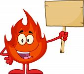 Flame Cartoon Character Holding A Wooden Board