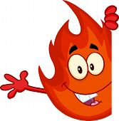 Cute Flame Cartoon Character Looking Around A Blank Sign And Waving