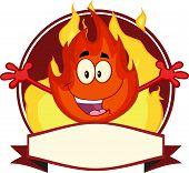 Flame Cartoon Mascot Label