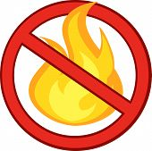 Stop Fire Sign With Burning Flame