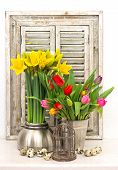 Home Decoration With Fresh Spring Flowers And Easter Eggs