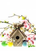 Colorful Easter Decoration With Birdhouse And Eggs