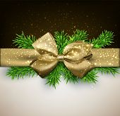 Winter background with crystallic snowflakes with golden gift bow. Christmas fir tree decoration. Ve