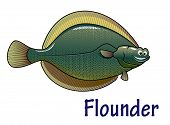 Flounder fish cartoon character