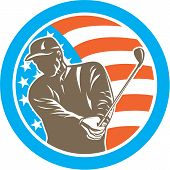 picture of iron star  - Illustration of an american golfer playing golf swinging club set inside circle with USA stars and stripes flag on isolated background done in retro style - JPG