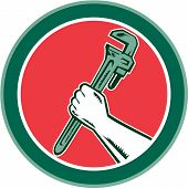 Hand Holding Adjustable Wrench Circle Woodcut