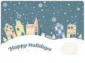 Happy Holidays Seasonal Greeting Card. Vector Illustration of townhouses and church on snow covered