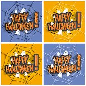 stock photo of happy halloween  - Happy Halloween Card Design Elements On Background - JPG