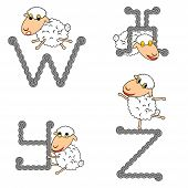Design Abc With Funny Cartoon Sheep. Letters From W To Z