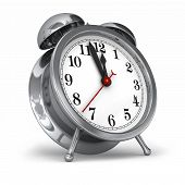 pic of wind up clock  - A modern take on the old fashioned wind up alarm clock on white - JPG