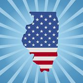 Illinois map flag on blue sunburst illustration