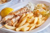 Traditional Greek food - Souvlaki with french fries
