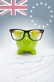 Piggy Bank With Flag On Background - Cook Islands