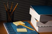 Desk With Adhesive Note In Night