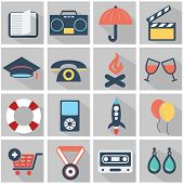 Flat icons design modern set of various financial service items, web and technology development, bus