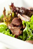stock photo of duck breast  - Breast of Duck Salad with Sauce - JPG