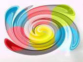Light Blue, Green, Yellow And Pink Twirling Strips Abstract Background