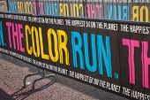 Colorful Banner At The Color Run 2014 In Milan, Italy