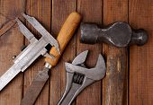 Hammer, Caliper, File And Wrench  Old Tools