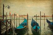 Venice Landscape. View of San Giorgio maggiore with gondolas. Added  old paper texture.