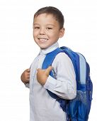 portrait of a school boy with backpack