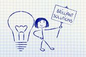 Girl With Ideas And Knowledge Promoting A Brilliant Solution