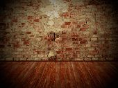 Grungy Wall And Wooden Floor, Dark Room Background