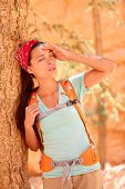 picture of high fever  - Dehydration thirst heat stroke exhaustion concept with woman hiker tired - JPG