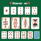 Playing cards diamonds set