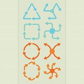 Abstract direction arrow shapes in different colors set