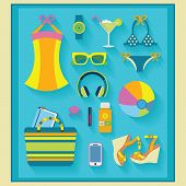 Summer and beach related icons set