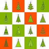 Christmas Tree Flat Line Icons