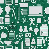 School and educational icons background and seamless pattern