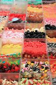 Assortment Of Candies In Transparent Boxes At The Market