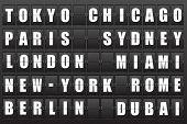 Flight destination, information display board named world cities Tokyo, Chicago, Paris, Sydney, London, New York, Berlin, Dubai, Miami, Roma. Scoreboard airport. Illustration.